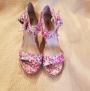 Miz mooz meryl pink floral wedge espadrilles